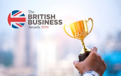 British business awards logo and trophy